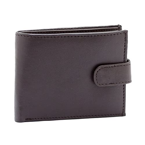 Men's High Quality Luxury Soft Black Leather Tri Fold Wallet - Id Window - Credit Debit Card Holder - Coin Pocket