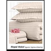 Split-King: Adjustable King Bed Sheets 5PC Stripe Ivory 100% Egyptian Cotton 600-Thread-Count Deep Pocket