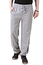 Aventura Outfitters Single Jersey Trackpant Grey Melange With Black & Sky Blue Stripes - XL (AOSJTP517-XL)