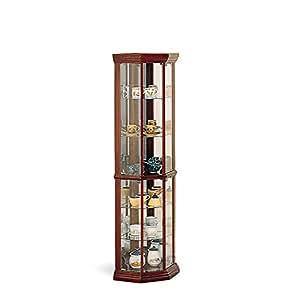 Amazon Com Coaster Solid Wood Glass Corner China Curio