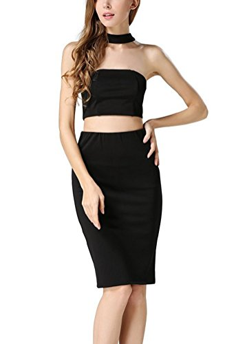 Searia Women Slim Fit Crop Top Midi Skirt 2 Two Piece Bodycon Cocktail Dress Black M