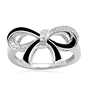 Cute Silver & Black Double Bow Ring with diamonds