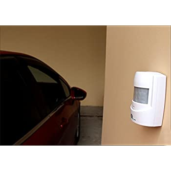 1byone Wireless Home Security Driveway Alarm, 1 Battery-operated Receiver and 1 PIR Motion Sensor Detector Weatherproof Patrol Infrared Alert System Kit