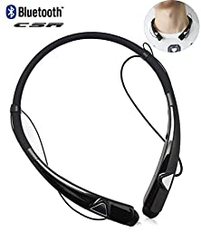 Bluetooth Headphones Neckband HV980 Best Wireless Earbuds Music Stereo Noise Cancelling Sweatproof for Sport/Running/Gym/Exercise Earphones with Mic & Magnet Holder, Vibration Switch (Black)