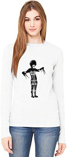 Edward Scissorhands sad face T-Shirt da Donna a Maniche Lunghe Long-Sleeve T-shirt For Women| 100% Premium Cotton Ultimate Comfort Large