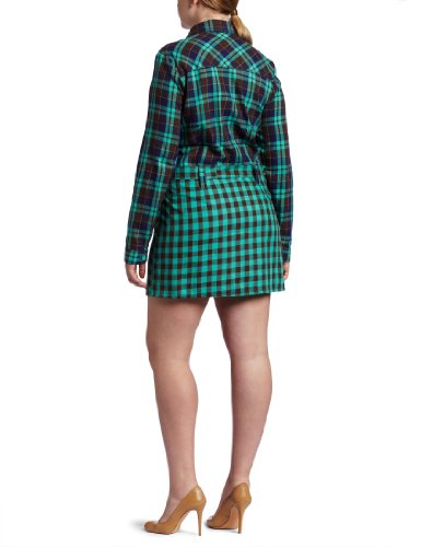 Plus Size Dresses : Southpole Juniors Plus Size Belted Plaid Shirt Dress