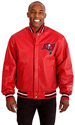 Tampa Bay Buccaneers Men's Leather Jacket with Hand Crafted Leather Team Logos