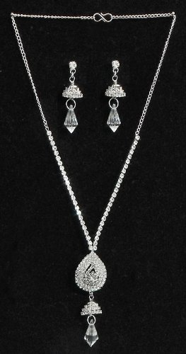 White Stone Studded Necklace Set - Stone And Metal