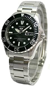 Seiko Men&#39;s SNZF29 Stainless Steel Analog with Black Dial Watch