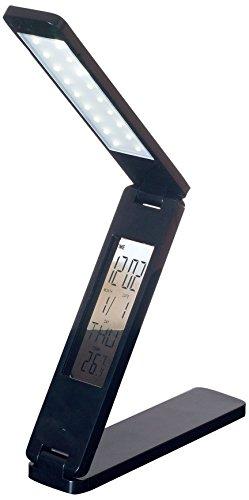 Lavish Home 72-Lt569-B Led Folding Lamp Book Light Clock Calendar Alarm, Black