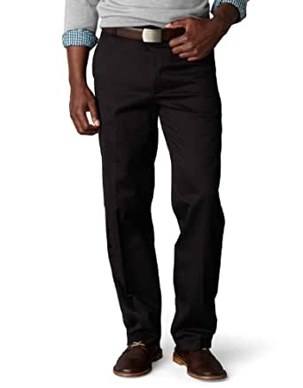 Dockers Men's Signature Khaki D3 Classic Fit Flat Front Pant, Black, 29x30