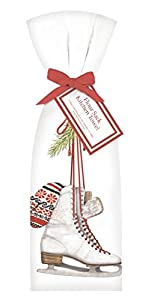 Winter Ice Skate & Mitten Bagged Towel - Christmas Xmas Flour Sack Cloth Kitchen Drying Cleaning Accessory