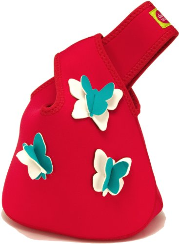 Dabbawalla Bags Butterfly Girls' Tweens' & Womens' Insulated & Eco-Friendly Lunch Purse Tote Red - 1