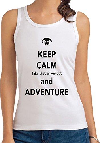 Keep-Calm-Take-That-Arrow-Out-And-Adventure-Camiseta-De-Tirantes-Para-Mujer-Blanco-Todos-Los-Tamaos-Womens-Tank-T-Shirt-TopTodos-Los-Tamaos