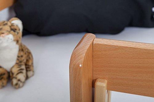 Lit pour enfant / Lit en mezzanine Andi en hêtre massif naturel, sommier à lattes déroulable inclus - 90 x 200 cm