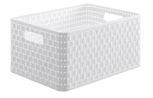 Rotho 1115301100 Cesta Country effetto rattan in plastica (PP), contenitore di design, formato A4, capienza ca. 18 l, ca. 36.8 x 27.8 x 19.1 cm, bianco