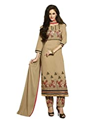 Desi Look Women's Beige Cotton Dress Material With Dupatta - B019IBX2GK