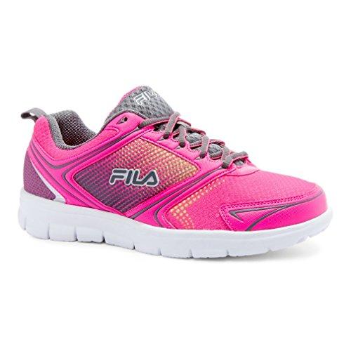 Fila Women's Windstar 2 Running Shoe, Knockout Pink/Castle Rock/Safety Yellow, 6 M US