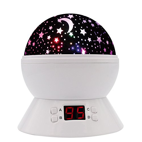 [UPGRADE] MOKOQI Rotating Star Sky Projection Night Lights Toys Table Lamps with Timer Shut Off & Color Changing For 1 Year Old Baby Girls Boys Bedroom Christmas Gift Baby Nursery Lights (White) (Baby Timer compare prices)