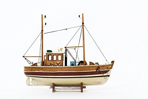 "Nautical memorabilia - solid model cutter ship - fishing boat - wood - 17.7"" (45cm)"