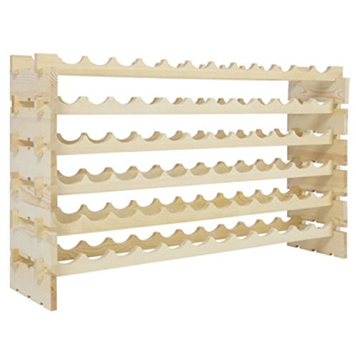 Wine rack 72 Bottle Wall Cabinet Table Kitchen Mounted Stackable Storage 6 Tier Solid Wood Display Shelves (Stact Modular Wine Rack White compare prices)