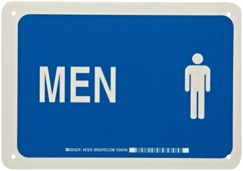 "Brady 47670 7"" Height, 10"" Width, B-401 Plastic, Blue On White Color Restroom Sign, Legend ""Men (With Picto)"""