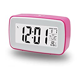 ZHPUAT Smart Light Alarm Clock, Snooze, Nature Sound & Recording Ringing, Date, Temperature (C& F), Timer, Progressively Alarm, Both DC & Batteries Operated (Pink)