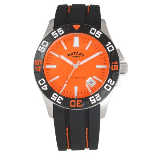 Rotary Men's Diver's Strap Watch GS30017/54 with an Orange Dial and a Black Rubber Strap
