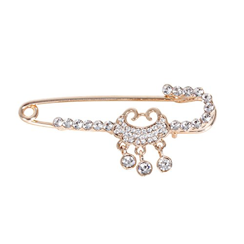 Candy Cane Safety Pin Gold-Tone Clear Crystal Art Deco Chinese Longevity Lock Wedding Brooch Scarf Lapel