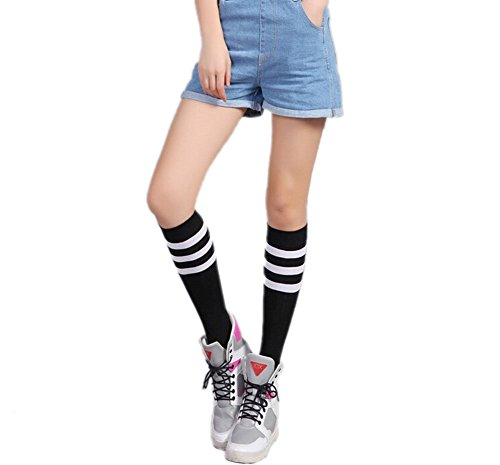 Silkly School Gilrs' Spring Cotton Striped Soft Casual Sports Knee High Socks