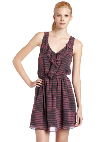 BCBGeneration Women's Flounce Tank Dress, Mauve Rose Combo, Medium