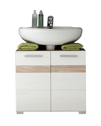 trendteam 133630196 - Mobiletto sotto lavabo Set One, effetto legno di rovere chiaro San Remo, dotato di sportello con finitura lucida bianca e 2 ripiani interni, 60 x 56 x 34 cm