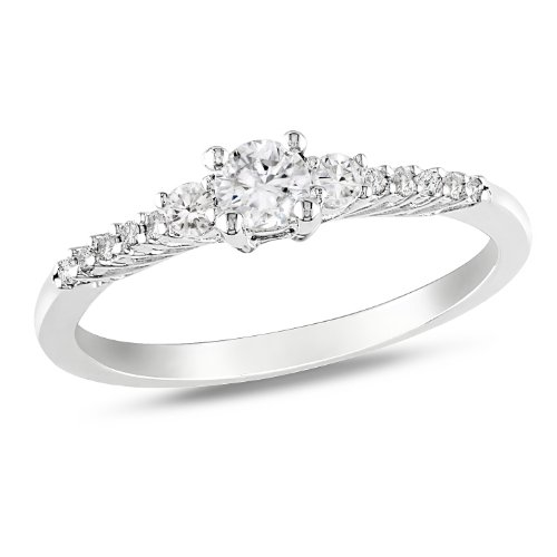 Sterling Silver 1/3 CT TGW Created White Sapphire 0.05 CT Diamond Fashion Ring (G-H, I2-I3)