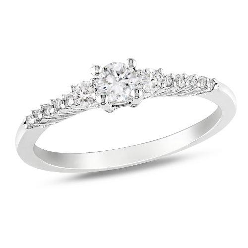 Sterling Silver 1/3 CT TGW Created White Sapphire 0.05 CT Diamond Fashion Ring (G-H, I2-I3)