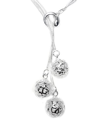 925 Sterling Silver Toned Hearts Bead Lariat Necklace
