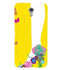 ANIMATED FLORAL FOOTWEAR FOR GIRLS IN A YELLOW BACKGROUND 3D Hard Polycarbonate Designer Back Case Cover for Lenovo ZUK Z1