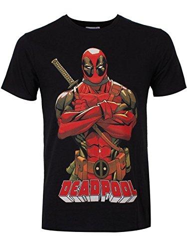 Deadpool - Pose T-Shirt - Maglietta con licenza ufficiale della Marvel - Motivo fumetto, grande stampa frontale - Girocollo - Nero - XXL