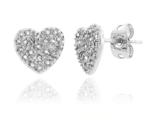Sterling Silver 925 Micro-pave Genuine Diamond Accents 0.20cts (Color H-I, Clarity I2-I3) Heart Stud Earrings