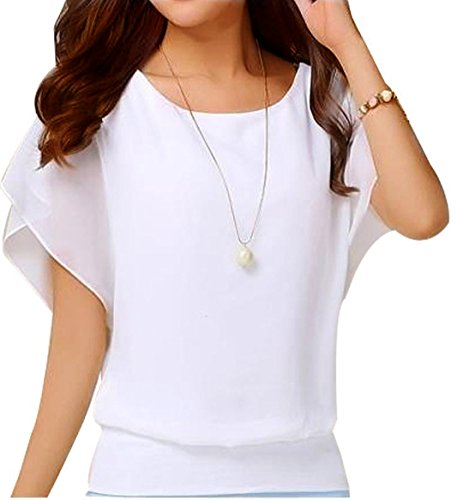 VIISHOW Women's Loose Casual Short Sleeve Chiffon Top T-shirt Blouse (L, White) (Women Tops Short Sleeve compare prices)