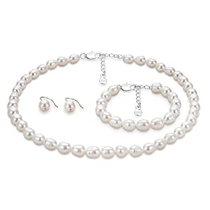 Taffstyle® Damen Echtes Süßwasser Perlen Set - Perlenkette Halskette / Armband / Ohrringe