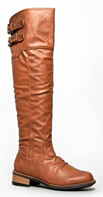 8c8cf492b33 Qupid RELAX01X Basic Casual Buckle Knee High Riding Boot