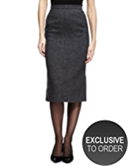 Twiggy for M&S Collection Metallic Effect Tweed Pencil Skirt with Wool