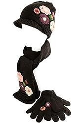 Winter 3pc Girls Kids Age 7-11 Floral Knit Scarf Beanie Hat Cap Gloves Set Black