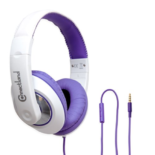 Connectland Cl-Aud63092 Headphone With In-Line Microphone On-Ear Design, Purple And White