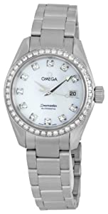 Omega Women's 2565.75.00 Seamaster Aqua Terra Automatic Diamond Bezel Mother-Of-Pearl Dial Watch