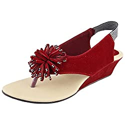 Fashion Womens Red Rubber Sandals (7)