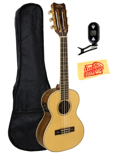 Lanikai O-6Ek Ovangkol 6-String Tenor Acoustic-Electric Ukulele With Fishman Kula Preamp Bundle With Gig Bag, Tuner, And Polishing Cloth