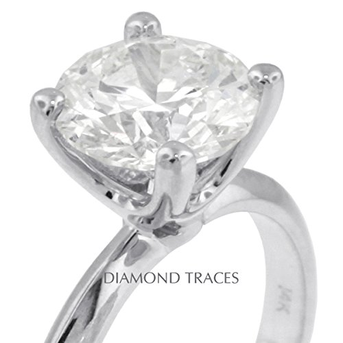 1.50 Carat Round Natural Diamond AGI Certified H-VS2 Very Good Cut 18k White Gold 4-Prong Setting Classic Style Solitaire Engagement Ring