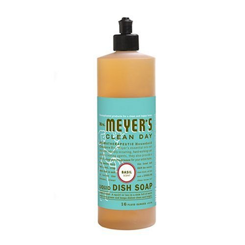 Mrs. Meyer's Clean Day Liquid Dish Soap, Basil, 16-Ounce Bottles (Case of 6)