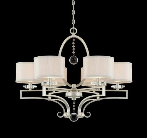 B004UPA5CY Savoy House 1-250-6-307 Rosendale Collection 6-Light Chandelier, Silver Sparkle Finish and Silver Fabric Shades
